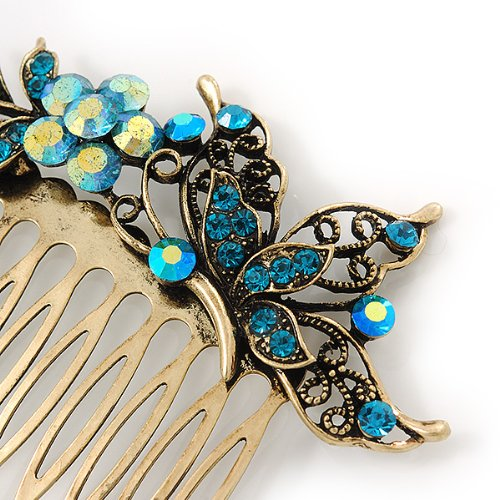 Vintage Inspired Teal Blue Swarovski Crystal 'Flower & Butterfly' Side Hair Comb In Antique Gold Tone - 115mm 2