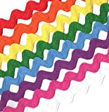 """Jay Company 5/8"""" Narrow Rainbow Cotton Ric Rac Craft Sewing Trim Variety Pack, 3 Yards of 8 Colors, 24 Yards Total"""
