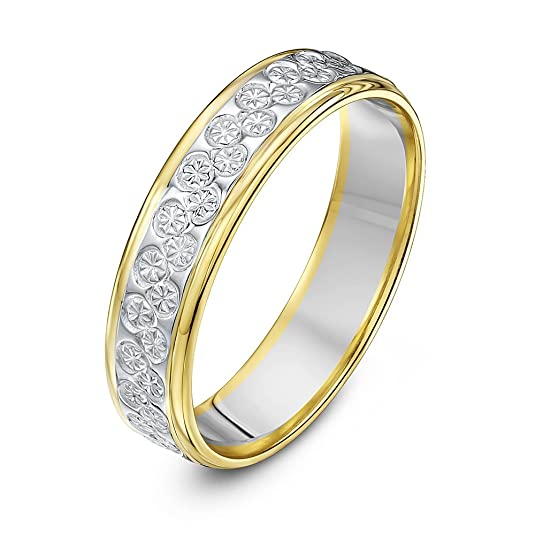 Theia Two Colours, 9 ct White and Yellow Gold Heavy Flat Diamond Cut 5 mm Wedding Ring