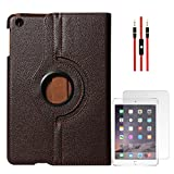 DMG Full 360 Rotating Cover Case For Apple Ipad Mini 3 (Brown) + AUX Cable + Matte Screen