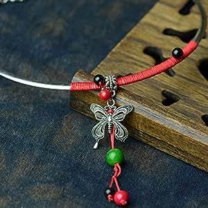Tibetische Schmetterling Anh?nger Halsband-Halskette f¨¹r Frauen: Amazon.de: Sport & Freizeit
