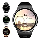 Evershop Smart Watch 1.5 inches IPS Round Touch Screen Water Resistant Smartwatch Phone with SIM Card Slot, Sleep Monitor, Heart Rate Monitor and Pedometer for iOS and Android Device (Black) (Color: Black)