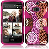 HTC One (M8) Dynamic Slim Hybrid Premium Pretty Design Protector Cover Case + Travel (Wall) Charger & Car Charger + 1 of New Assorted Color Metal Stylus Touch Screen Pen (Colorful Ethnic Wave Plastic / Pink Silicone)