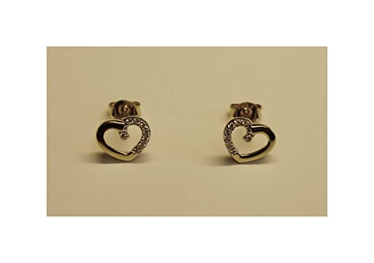 Heart Stud Earrings Gold Bi-Coloured Zirconia, 167041