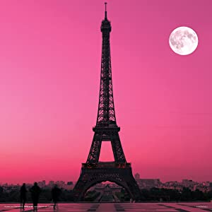 Eiffel Tower in Paris, France, under a pink sky