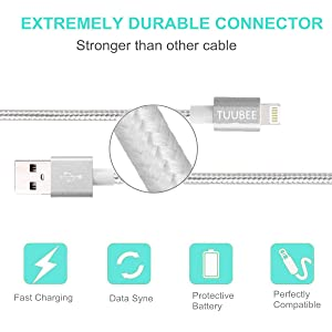 TUUBEE MFi Certified 5Pack[3/3/6/6/10FT] Nylon Braided Cell-Phone Charging Cable USB Fast Charging & Syncing Long Cord,iPhone Charger Compatible iPhone XS/Max/XR/X/8/8P/7/7P/6/iPad/iPod (Silver) (Color: Silver, Tamaño: 3 Feet)