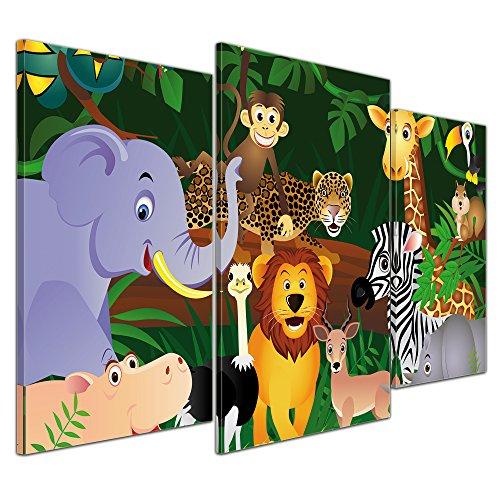 bilderdepot24 leinwandbild kinderbild wilde tiere im dschungel cartoon 100x60 cm 3 teilig. Black Bedroom Furniture Sets. Home Design Ideas