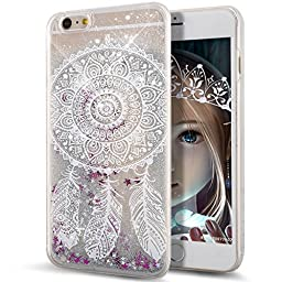 iPhone 6S Case,NSSTAR iPhone 6 Case,iPhone 6S Liquid Case,Flowing Liquid Floating Bling Glitter Sparkle Silver Stars Hard Case for Apple iPhone 6S (2015)/iPhone 6 (2014),Dream Catcher Feather Bells