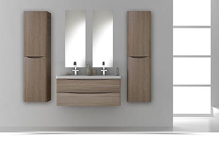 Mobile Arredo Bagno Light 120cm sospeso doppio lavabo rovere con due cassetti soft close Mobili