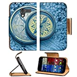 Luxlady Premium Motorola X 1st Generation Flip Case Vintage compass on snowflakes in blue toning IMAGE 36799245 Pu Leather Card Holder Carrying