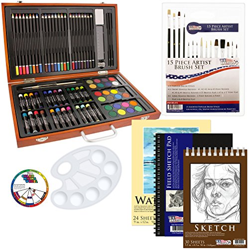 US Art Supply 82 Piece Deluxe Art Creativity Set in Wooden Case with BONUS 20 additional pieces - Deluxe Art Set (Art Supplies Paper compare prices)