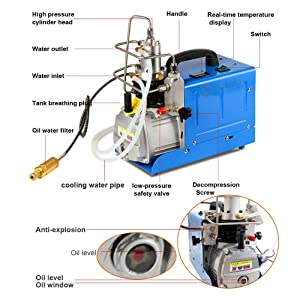30Mpa 4500PSI Air Compressor 110V High Pressure Air Pump Air Pump Booster with Two-stage Compression for Inflation Bottle Pneumatic Airgun Scuba Rifle PCP Inflator
