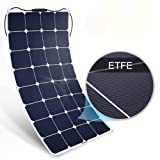 BougeRV 100W 18V 12V Solar Panel Charger ETFE SunPower Cell Solar Power Flexible Ultra Thin with MC4 Connector Charging for RV Travel Trailer Van Truck Car SUV Pontoon Boat Cabin Tent (Color: 100w solar panel, Tamaño: 100W)