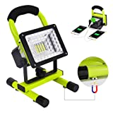 Work Light, Led Work Light with Magnetic Stand BESWILL Portable Rechargeable Battery Flood Light 15W 24LED SOS Mode Outdoors Camping Emergency Light with 2 USB Ports to Charge Digital Devices (Green) (Color: Green)