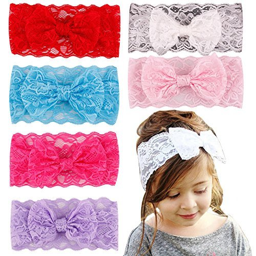 Kids Girl Baby Headband hair 7PCS Bow Flower Accessories Headwear Toddler Lace Gift Rabbit Headwrap