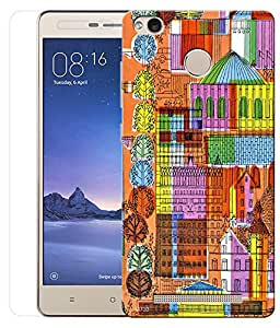 Indiashopers Combo of Multicolour Architecture HD UV Printed Mobile Back Cover and Tempered Glass For Xiaomi Redmi Note 3S Prime
