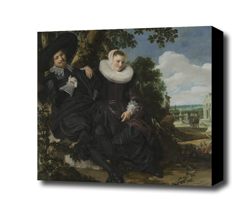 Frans Hals Portret van een stel in een landschap Canvas Art Print, with 1.5 inch Deep Frame BLACK edge; 24 X 22 alzrc devil 380 fast fbl kit rc helicopter kit aircraft rc electric helicopter 380fbl frame kit power driven helicopter drone