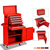 Big Tool Chest,Rolling Tool Chest,Tool Chest with Wheels and Drawers,Removable 4-Wheel Tool Chest,Tool Cabinet with 5 Drawers,Large Capacity Tool Box with Lock,Red (Color: Red)