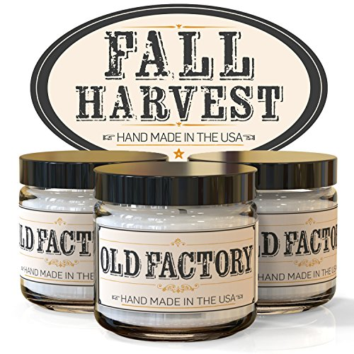 Old Factory Candles FALL HARVEST set of 3: Pumpkin Spice, Cranberry, Autumn Leaves