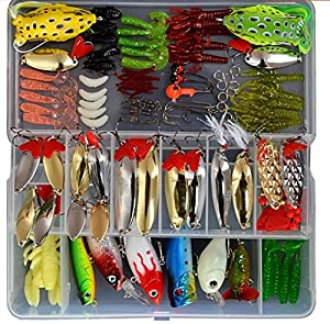 zolink 129pcs Fishing Lure Set ,Including Frog Lures, Spoon Lures, Soft Plastic Lures, Popper, Crank, Rattlin and More by zolink