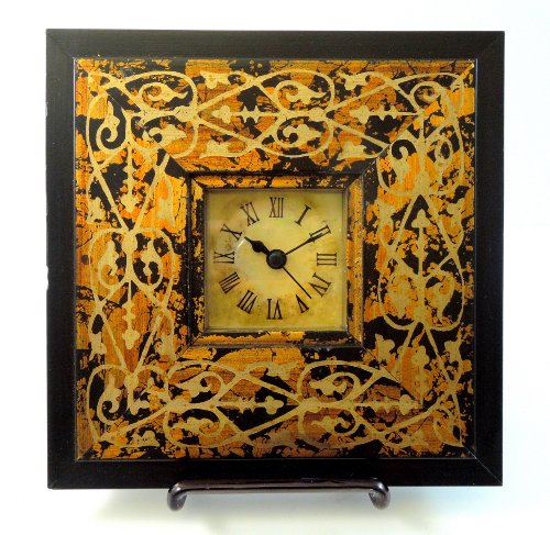 7 X 7 Decorative Frame Desk Side Table Mantle Wooden Clock Italian Black Gold