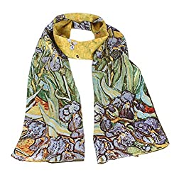 Olina Women's High-Grade Elegant 100% Luxury Long Silk Scarf (Van Gogh - Irises)