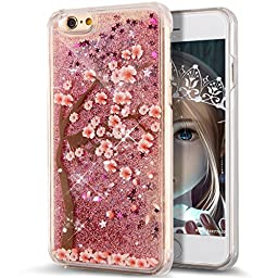 iPhone 6S Case,iPhone 6 Case,ikasus iPhone 6S / 6 Luxury [Flower] Design Painted Flowing [Liquid] Floating Bling Glitter Sparkle Stars Case for Apple iPhone 6S (2015)/ iPhone 6 (2014) ,Pink Flower 6