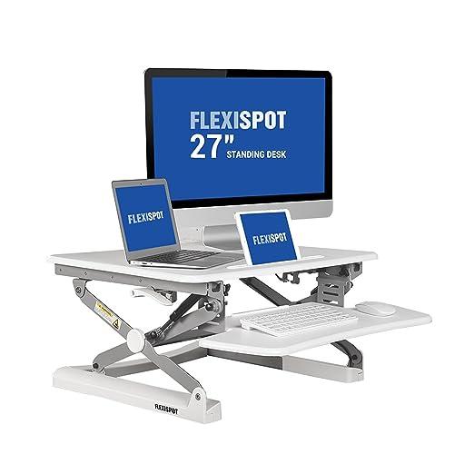 """FlexiSpot 27"""" (69cm) M1W Alzata di scrivania in piedi altezza regolabile, convertitore da scrivania in piedi, con un vassoio di tastiera (bianco)"""