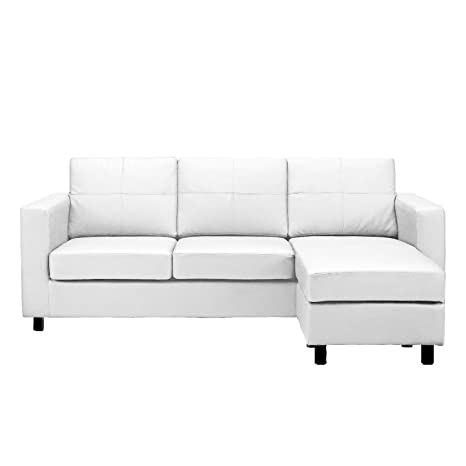Modern Bonded Leather Sectional Sofa - Small Space Configurable Couch - Colors Black, White (White)