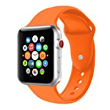 BOTOMALL Compatible with Apple Watch Band 38mm 40mm 42mm 44mm Classic Silicone Sport Replacement Strap Bracelet for iWatch All Models Series 4 Series 3 Series 2 Series 1 (Orange,42/44mm S/M) (Color: orange, Tamaño: 42/44mm S/M)