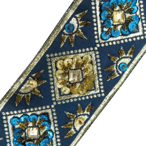 Blue Beaded Trim Light Gold Sequin Border Decorative Lace Sewing Craft 3 Yd