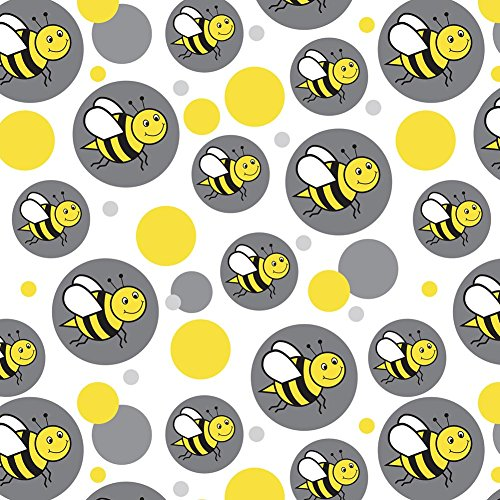 Premium Gift Wrap Wrapping Paper Roll Pattern - Happy Bumble Bee Buzz Insect Honey - Grey