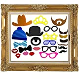 COOLOO Party Photo Booth Props With Antique Paper Frame:Different Styles Of Mustache,Glasses,Lips,Bowties,Hats and an Imperial Crown,24 Pcs