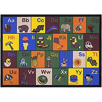 Ottomanson Jenny Collection Childrens Multi Color Educational Alphabet (Non-Slip) Kids Classroom Area Rugs, 33