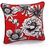 Jovi Home Camilla Floral Decorative Pillow, 17 by 17-Inch, Red