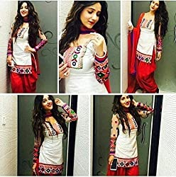 INDIA FASHION SHOP WOMENS WHITE RED EMBROIDERED COTTON UNSTITCHED DRESS