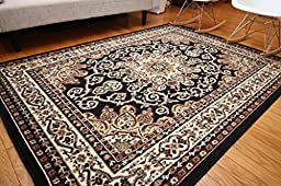 Generations New Oriental Traditional Isfahan Persian Area Rug, 4\' x 6\', Black