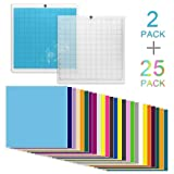 WIWAPLEX 2Pack Cutting Mat for Silhouette, Standardgrip 12x12Inch Cutting Mat for Cameo with Permanent Self Adhesive Vinyl Sheets in 25 Assorted Colors for Craft Sewing Scrapbooking (Color: Mix-Color 27 Pack, Tamaño: 12inch x 12inch)