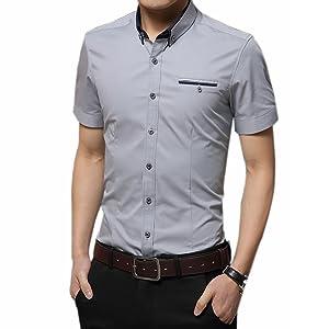 シロイワ メンズ半袖シャツ 半袖 ワイシャツ 半袖シャツ クールビズ半袖シャツ