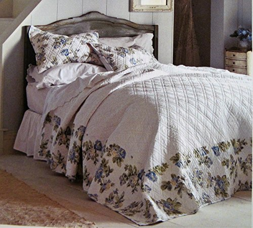 Simply Shabby Chic Blue Floral Full Bedspread