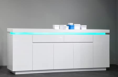 Dreams4Home Sideboard ' Atlantis ', in Hochglanz weiß, inkl. RGB-LED Beleuchtung mit Fernbedienung, Wohnzimmer, Lowboard, TV-Schrank, Kommode, Fernsehschrank