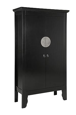 Schrank Hochzeitsschrank 'Asia' 90cm schwarz Holz/MDF lackiert