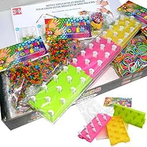 """COFFRET KIT LOOM BANDS - Métier à Tisser Loom 3 en 1 388kidi """"MON SACHET CREA"""" + 6 pendentifs + 1000 élastiques 388kidi """"MON SACHET CREA"""" (1 sachet de 600 multicolores + 2 sachets de 200 élastiques type bonbons acidulés (1 étoiles + 1 fleurs)) + Crochets + Clips S + Notice visuelle 388kidi en français - KIT BK"""