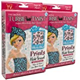 Turbie Twist Microfiber Super Absorbent Hair Towel (2 Pack) Pink Leopard Prints