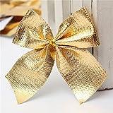 Generic Silver : 24Pcs Ribbon Christmas Decoration Bows Christmas Decorations Trees Bow Pendant Ornaments Santa...