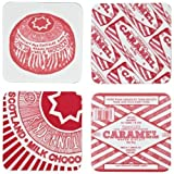 Tunnock's Teacake & Caramel Wafer Biscuit Set of 4 Coasters by Gillian Kyle