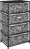 Altra Furniture 4-Bin Zebra Print Fabric Storage End Table