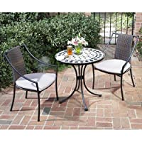 3 Piece Bistro Set With Fishtail Tile Bistro Table And 2 Laguna Slope Arm Chairs by HomeStyles