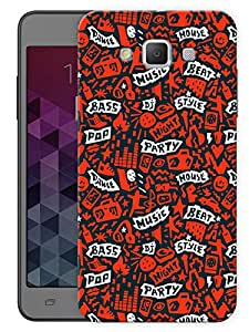 "Humor Gang Music Love Abstract Pattern - Red Printed Designer Mobile Back Cover For ""Samsung Galaxy A3"" (3D, Matte, Premium Quality Snap On Case)"