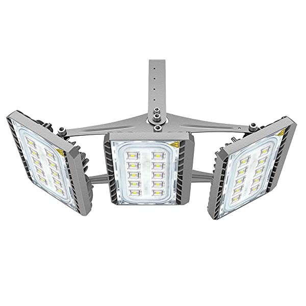 LED Flood Light, STASUN 150W Super Bright LED Security Lights Outdoor with Wider Lighting Area, 13500lm, 6000K Daylight, Built with Cree LED Chips, Waterproof, Great for Yard Garage Parking Lot (Color: Grey)
